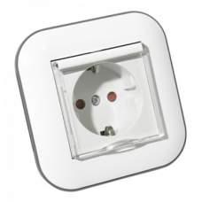 Розетка с заземлением кришкой и шторками LOFT белый+серый, купить, заказать, цена, отзывы, характеристика, фото
