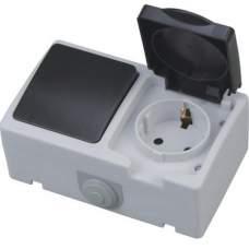 """Розетка  накладная заз/крышка +выключатель ІР 54 """"ATOM"""", купить, заказать, цена, отзывы, характеристика, фото"""