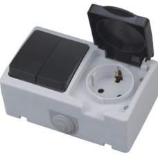 """Розетка  накладная заз/крышка +2 кл выключатель ІР 54 """"ATOM"""", купить, заказать, цена, отзывы, характеристика, фото"""